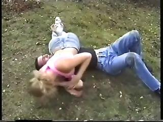 Rare Mixed Wrestling With The Beautiful But Retired Luzia In Jeans