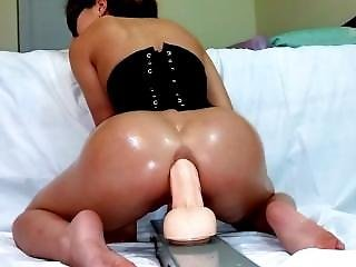 Asian Wife Takes A Big Dildo In The Ass