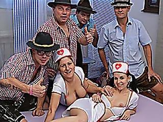 Nurses In Lederhosen Gangbang Orgy