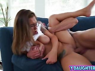 Brunette Babe Fucking Riding Dad Friend On Couch