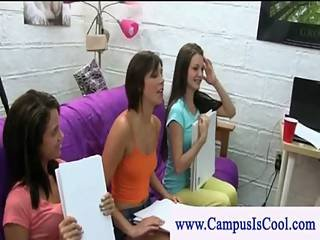 Teen Girls Share Cock In Their Dorm