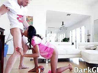 Horny Ebony Teen Nia Nacci Pounded Hard On Sofa By Big Cock