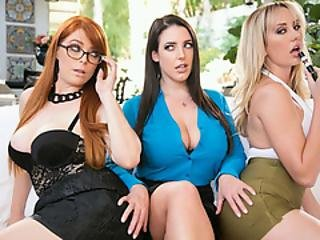 Angela White As The Lipstick Manager And Her Lesbo Crew