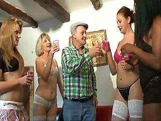 Lucky Old Man Get Reverse Gangbang From Young Teens