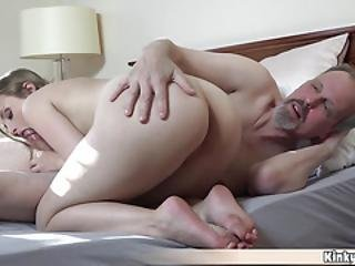 Nasty Teen Joins To Grandpa In The Shower And Fucks Him