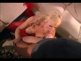 Big Boobed Blonde Milf Fucking In Red Stockings