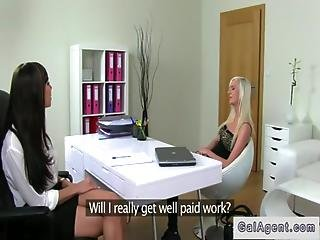Female Agent And Assistant Fucks Blonde On Casting