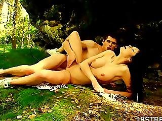 Doggy-style teen sex in the forest