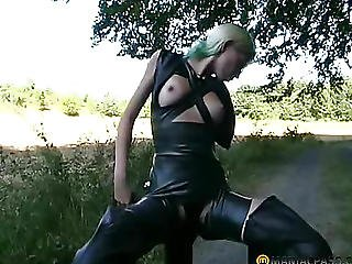 The Girl At His Feet Dresses Leather Boots