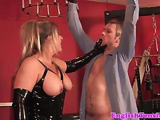Femdoms In Latex Team Up On A Cheating Dude