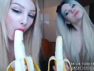 Two Young Blondes Blowjob Banana Battle