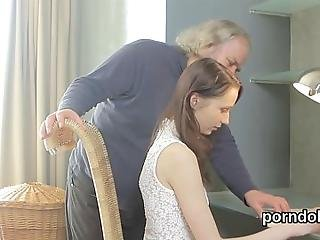Fantastic Chick Is Being Seduced By Her Aged Instructor To Blow Cock And Have Hardcore Fucking In The Classroom