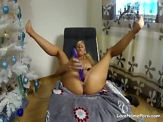 Milf Fucks Her Tight Pussy With A Huge Dildo