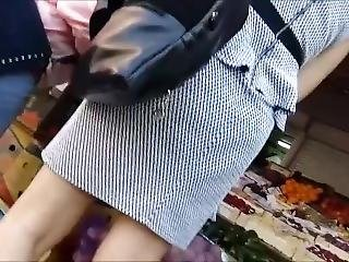 Outdoor Upskirt. Big Ass And Blue Panties.