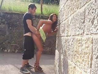 Sexy Tanned Girl Getting Fucked Up Against The Wall In Public