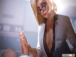 Cute And Gorgeous Blonde 3d Babe Called Mercy From Overwatch Enjoying Hard Pussy And Ass Penetration