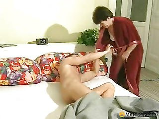 In Her Mouth Shoves His Dick