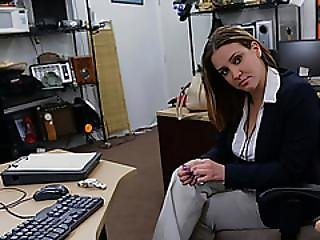 Brunette Representative Offering Old Stuff Ends Up In The Office