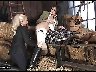 Horny Lesbian Babes Eat Pussy And Fuck Toys In Riding Boots