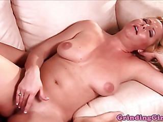 Bigboob Lesbians Scissor With Dildo On Couch