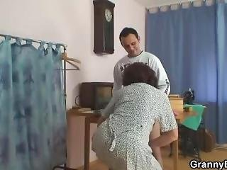 Guy Fucks Sewing Granny From Behind