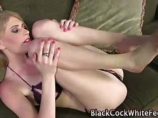 Blonde Babe Gets Results With Her Feet And A Cumshot