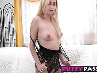 Amazing Blonde Babe Ellen Has Some Fun With A Glass Dildo