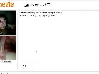 Omegle- Teasing White Cute And Cum