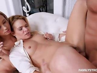 Family Threesome: Stepbrother, Stepsister And Stepmom