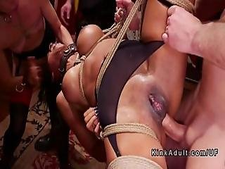 Group Of Slaves Banged In Orgy Halloween Party
