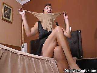 Hard Nippled Latina Milf Karina Gets Turned On By A New Pair Of Pantyhose And Shares Toying Her Hairy Cunt Bonus Video: Latina Milf Sharon