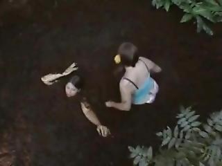 Two Girls Sink Down In Deep Mud