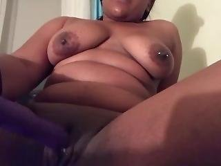 Sexy Black Nerd Masturbates Until Squirt
