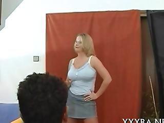 Hot Blonde With Big Tits Posing And Stripping