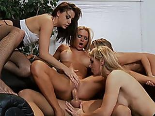 Horny Milfs Group Fucked By The Weird Bosses Huge Penis
