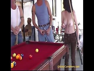 Just Playing Pool On The Back Porch With Granny, Dad And Some Friends And We Decide To Get Dirty Blowjobs For Dad And His Friend Then Inside For An Orgy With Granny And Dad