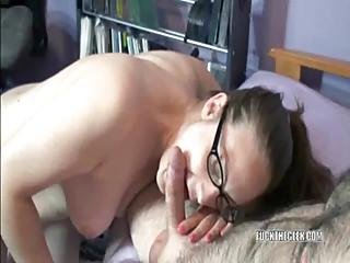 Curvy Danni On Her Knees And Swallowing A Cock