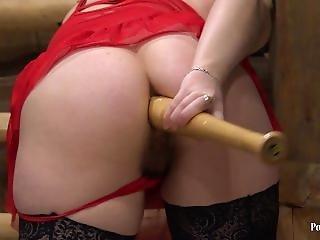 Gaping Ass Fucks A Baseball Bat Young Brunette