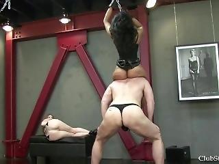 Two Mistress Neck Riding A Ponyboy