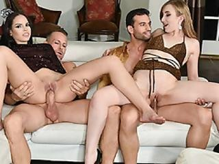 Gracie And Tory Swap Papas For Sucking And Fucking On New Year