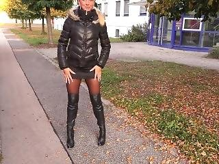 Blonde German In Black Puffy Jacket And Fur Hood Piss And Sex