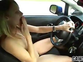 Pretty Gf Gets Naked In Car And Plays While Driving