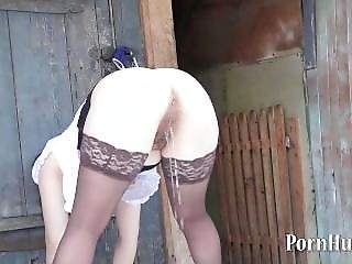 Natasha Pissing Standing On The Street! Back View