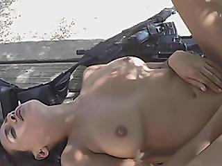 Petite Brunette Crossed Boarders Busted By Long Dick Officer
