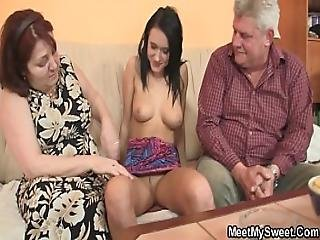 Old Man Doggy-fucks His Brunette Girlfriend