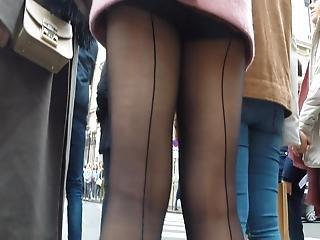 Walking Upskirt Black Pantyhose