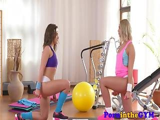 Sporty Lesbians Pussy Licking In The Gym