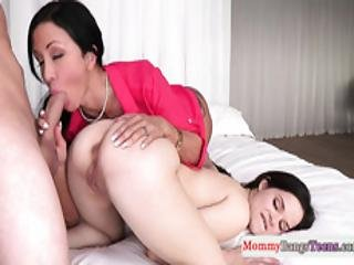Pretty Teen Shares Cock With Busty Stepmom