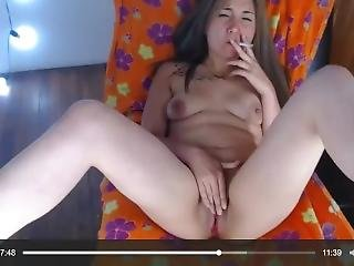 Sexy Helen, Smoking And Pussy Play On Cam