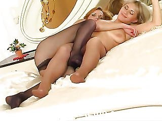 Pinches His Girlfriend Feet In Pantyhose